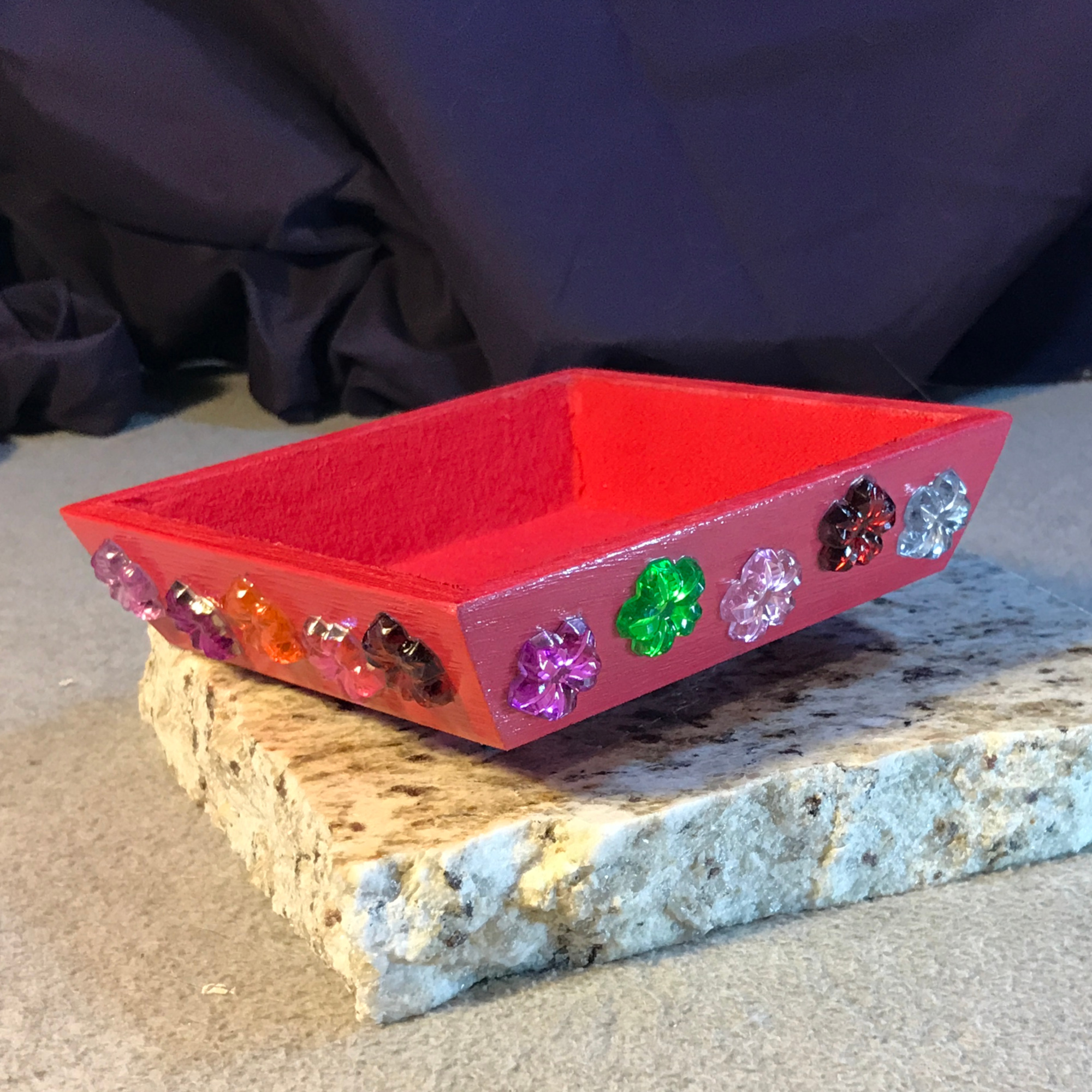 Pink Flower Gems Small Gaming Token Tray