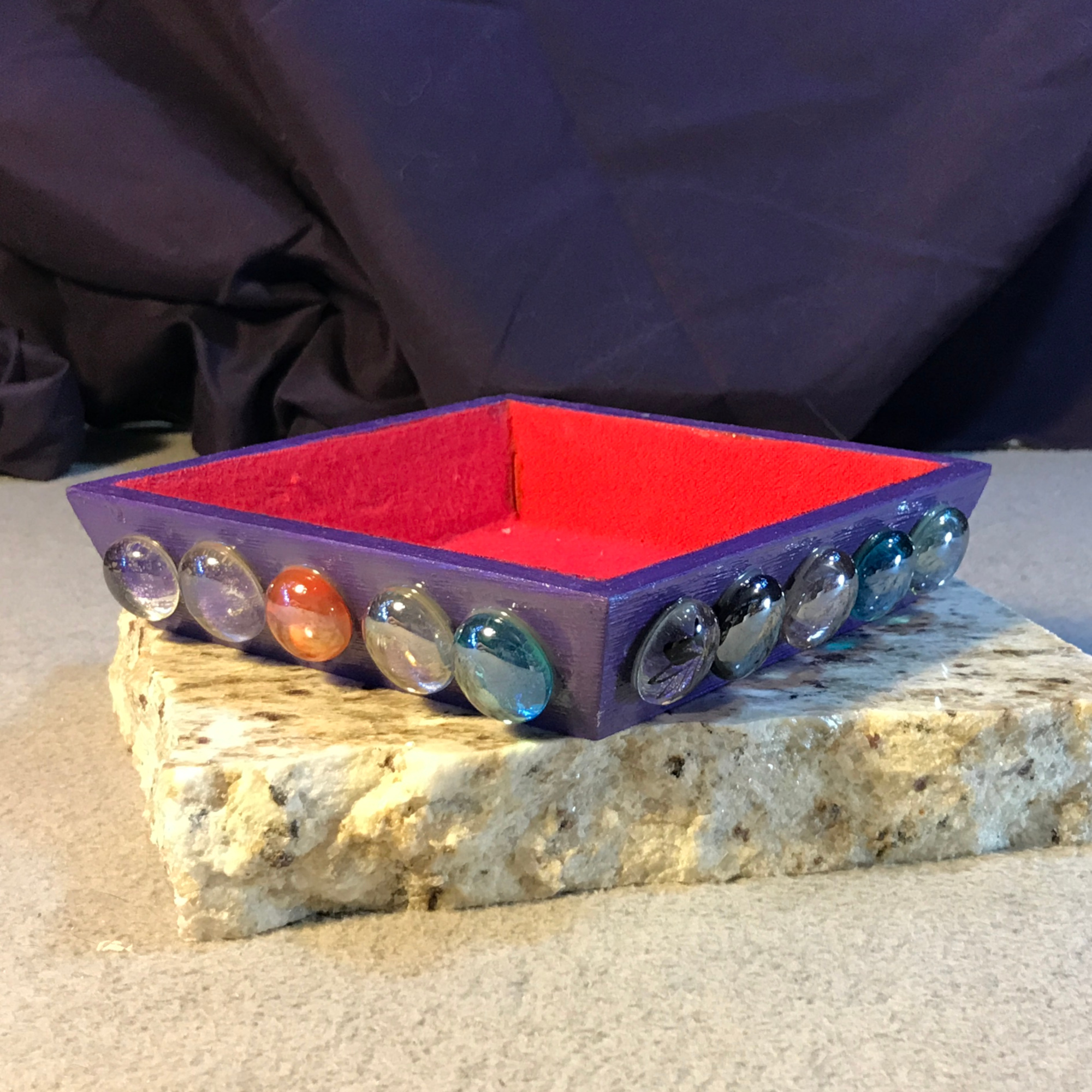 Small Gaming Token Trays with Glass Gems