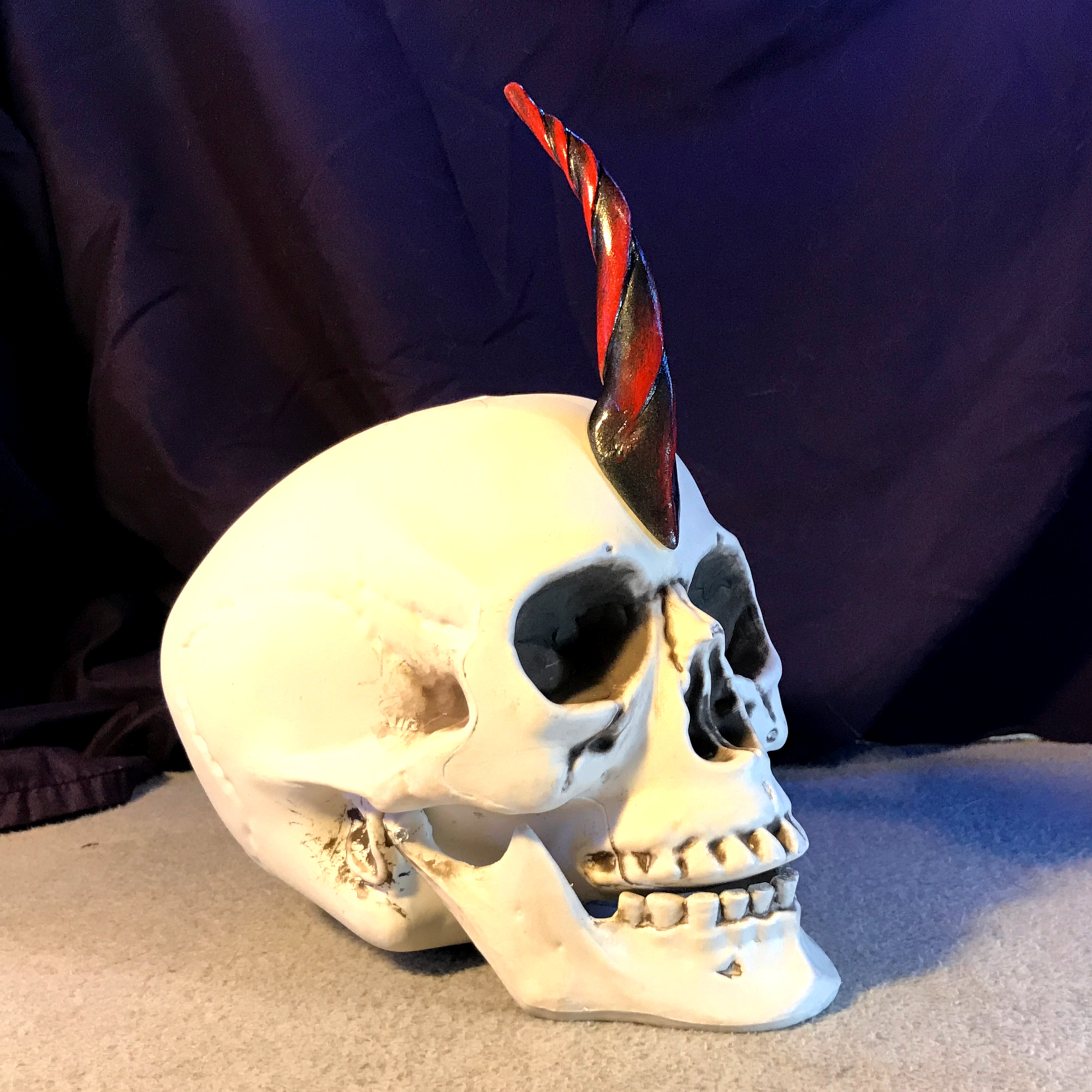 Red and Black Channeled, Adult Size Unicorn Horn